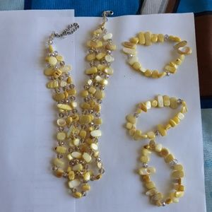 Jewelry - 3 strand necklace with bracelets.